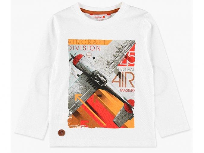 Chlapecké bavlněné tričko s dlouhým rukávem, moderní záplatou a potiskem letectví