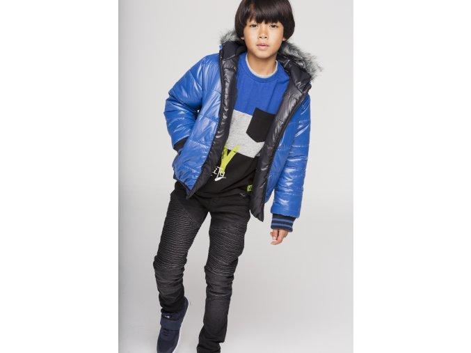 Chlapecká bunda černá modrá oboustranná zimní bunda technická kapuce s kožíškem boboli Loobook AW19 (48)