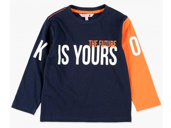 """Chlapecké bavlněné tričko s dlouhým rukávem, každý jiné barvy v kontrastu tmavě modré (navy blue) se svítivě oranžovou. Kvalitní potisk na motiv """"budoucnost je tvoje"""" s hravým OK nebo KO?"""