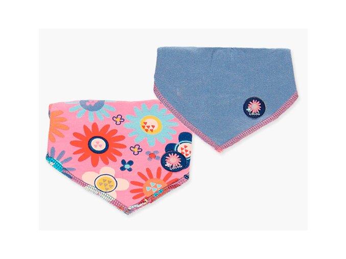 Barevný kojenecký bryndáček 2ks Boboli růžový modrý kytičky