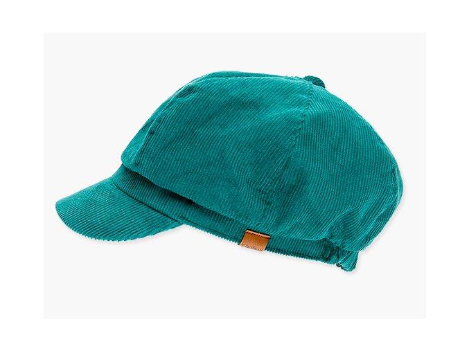 <p>Dívčí čepice z manšestru v krásné kontrastní tyrkysově modré barvě (kačeří zelená) s kšiltem typu Bardotka nebo také mlynářská čepice.</p>