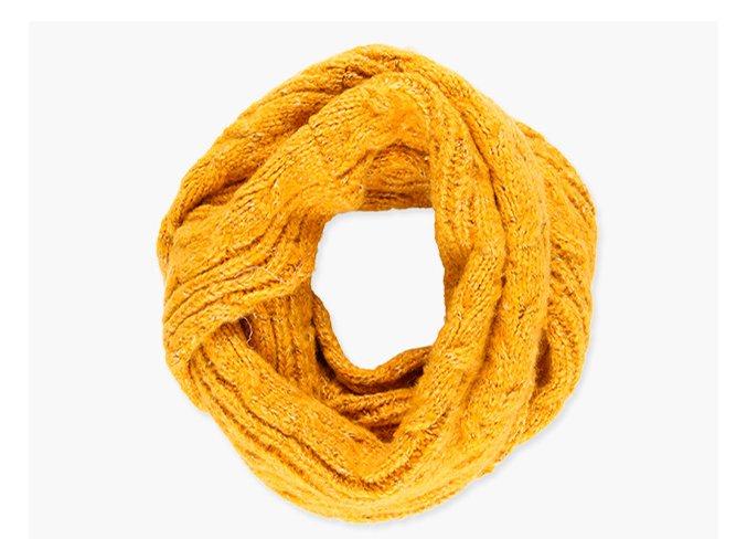 Dívčí pletená šála nákrčník tunel příjemná měkká velká šála hořčicově žlutá