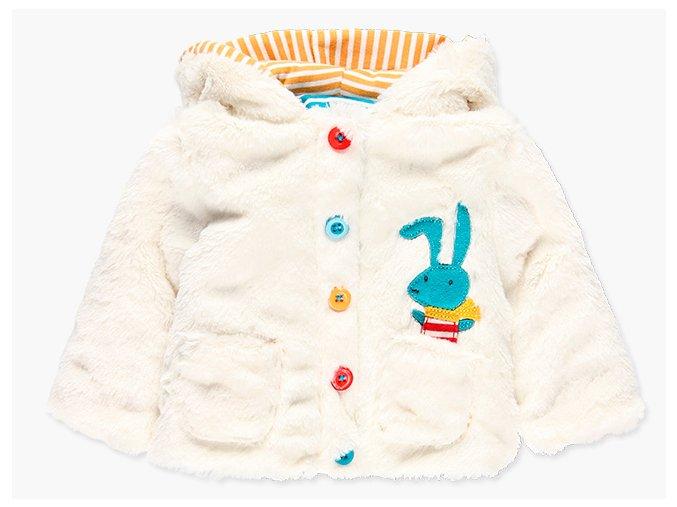 Kojenecká bundička kožíšek zimní oboustranná barevná bílá se zajíčkem Boboli
