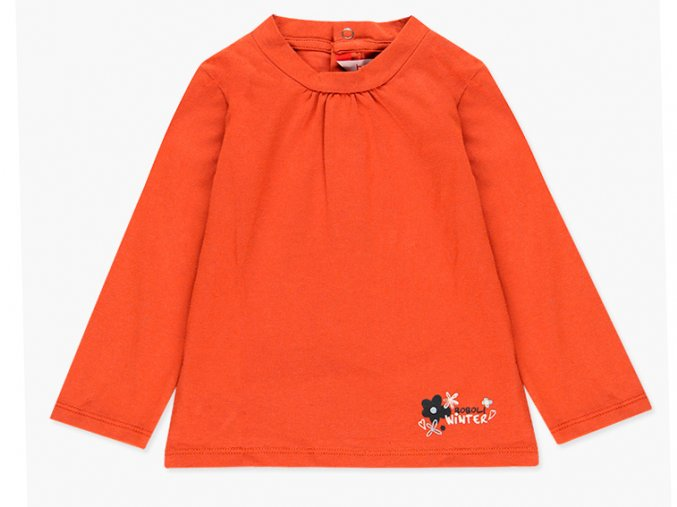 oranžové Dívčí tričko dlouhým rukávem oranžové Boboli Set Květy Clay