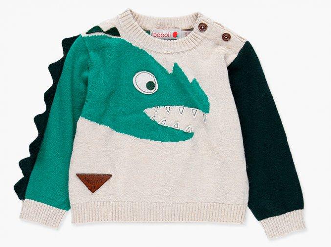 svetr kluk Boboli drak pruhovaný barevný dinosaur