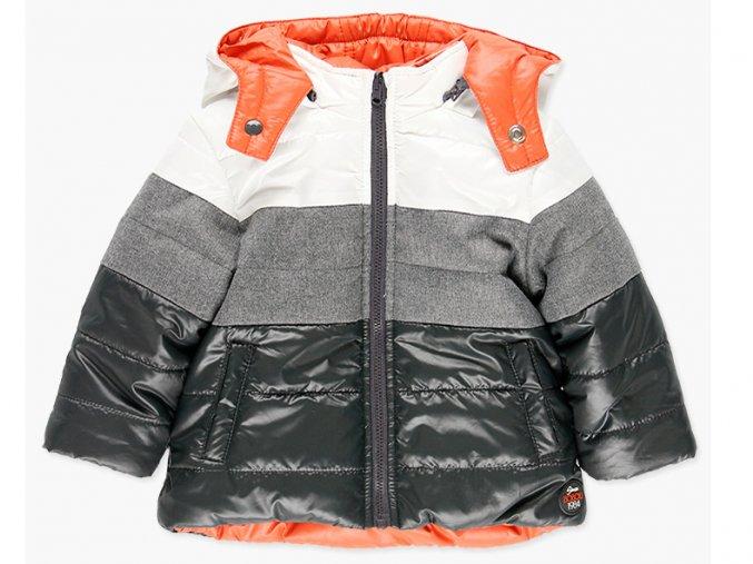 Dětská zimní bunda oboustranná Boboli šedá oranžová a