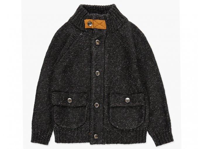 Tmavý svetr pro kluka pletená bunda na zip a patentky skořicové záplaty na loktech Boboli 7384248070 a