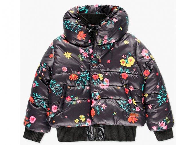 Holčičí zimní bunda tmavá barevné květy kabátek dlouhá bunda pro holku teplá tmavá chic Boboli
