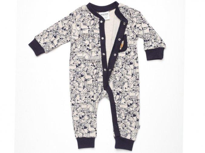 Dětské pyžamo. Overal s dlouhým rukávem a nohavicemi bez chodidel a na celkové přední propínání. Jemná bavlna.