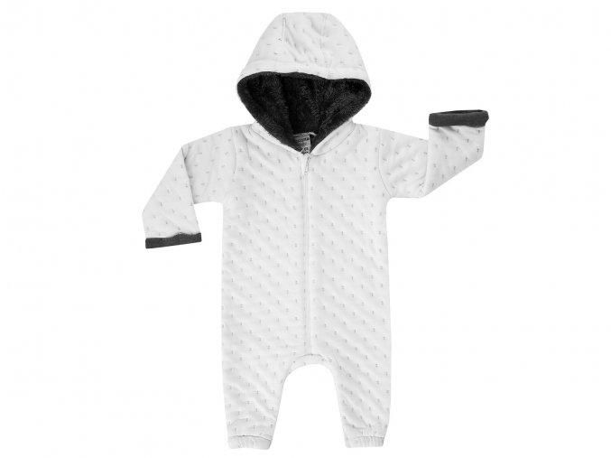 Bílý kojenecký overal teplejší na zip, kombinéza, Německá kvalita