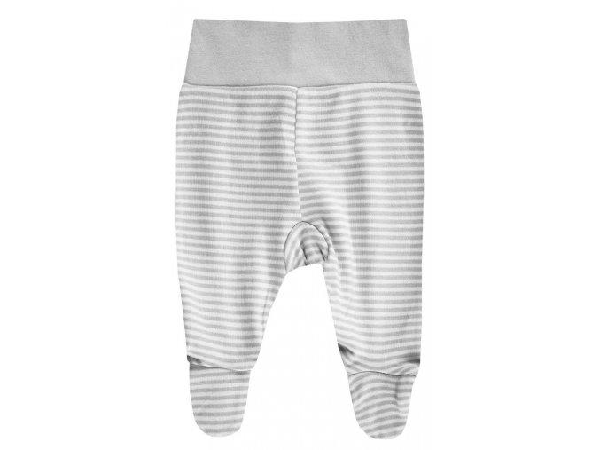 Dva kusy dětských kalhot s ťapkami z jemné bavlny s variantou šedý melír a šedo-bílé proužky. EKO-TEX certifikát.