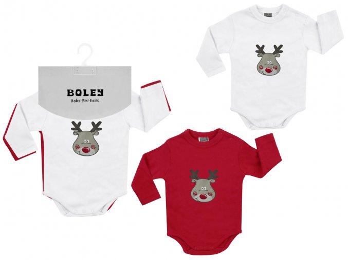 Dvě dětská body s dlouhým rukávem z jemné bílé a červené bavlny, a s roztomilým potiskem soba (Vánoční/ zimní motivy). Unisex.