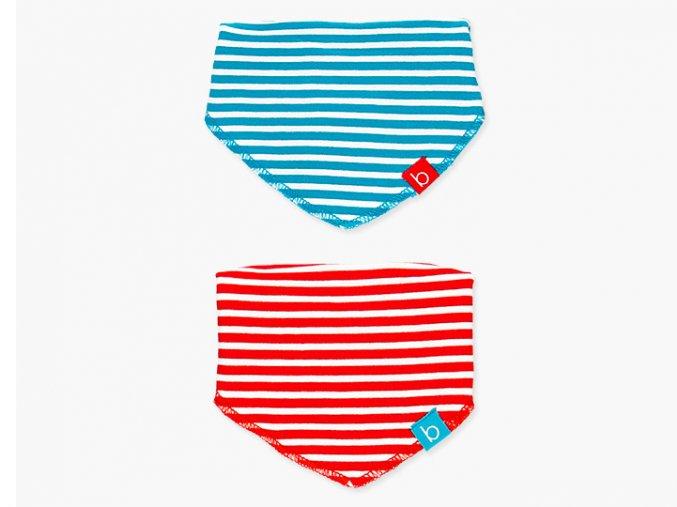 <p>Sada praktických bryndáčků či slintáčků z bavlny a bílou spodní stranou z jemného froté v nebesky modro-bílé a červeno-bílé barvě. Zapínání na patentky. Unisex</p>