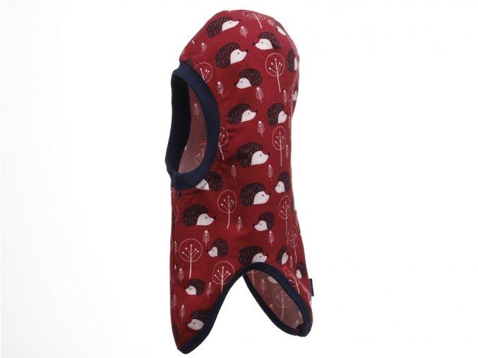 Dětská zimní kukla s dlouhým obloukovým lemem pro zakrytí výstřihu. Barevný potisk (hnědo-červená). Použití kukly pod helmu nebo čepici.