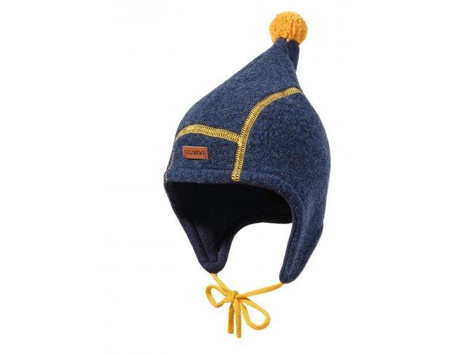 Dětská zimní vlněná ušanka s podšívkou ze 100% bavlny. Dlouhé strany přes uší, skřítovská špička s bambulí a zavazováním na šňůrku. Barevná kompozice tmavě modré s hořčičně žlutou.