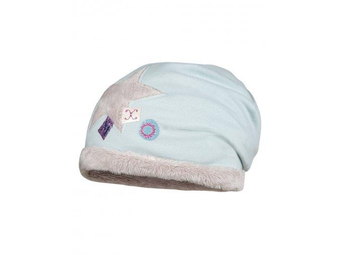 Dívčí zimní čepice tvaru beanie, s chlupatým kožíškem a pevným lemem, zdobená velkou hvězdou se třpytivými písmeny.