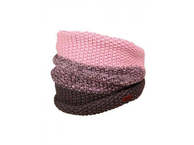 Dívčí zimní nákrčník, pletený vzor obourubní, tedy velmi pružný a silný. Barevná kombinace antracitově šedé se staro-růžovou s melírovým přechodem. Kožené logo značky.