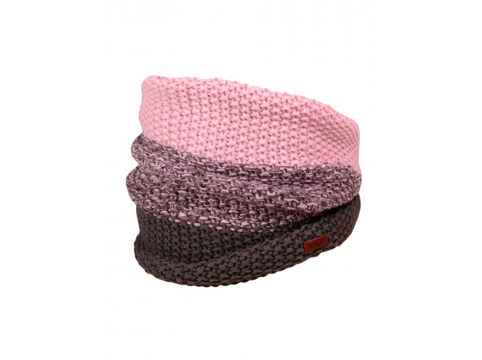 Pletený nákrčník holka růžový šedý melír