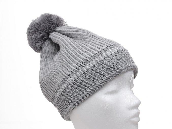 stříbrná zimní pletená čepice Maximo