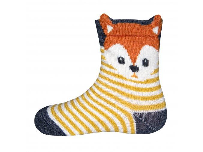 Dětské pruhované ponožky Liška žluté - kari