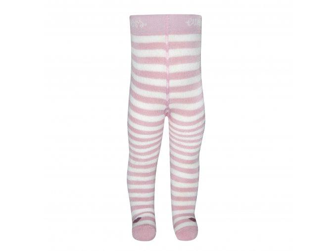Pruhované zimní punčocháče Srdce (Barva růžová - bílá, Velikost EU 92)