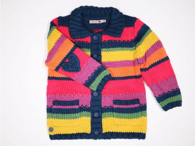 Pletený svetr na knoflíčky barevný duhový růžový Boboli holka Duha a