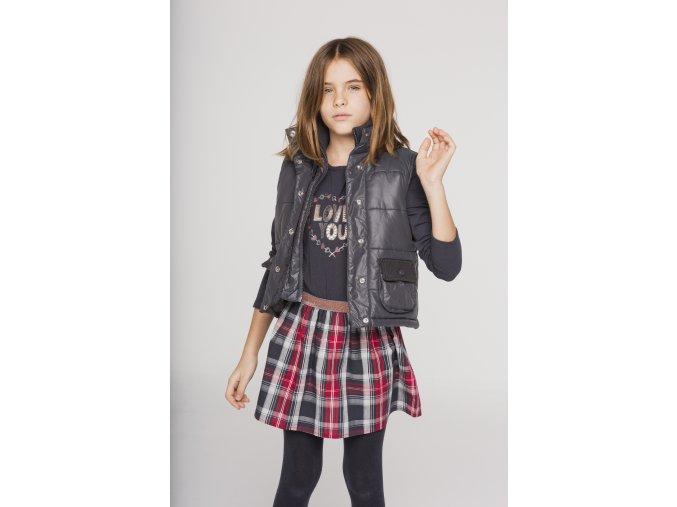 Dívčí šaty kombinované kostkované šedé červené Rock Boboli holka