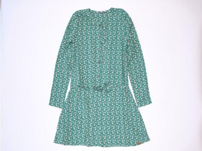 Holčičí šaty zelené s květy dlouhý rukáv lehké viskóza Boboli