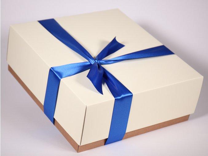 Bílá modrá dárková krabice designová papírová pevná se stuhou minimel.cz Geopelia