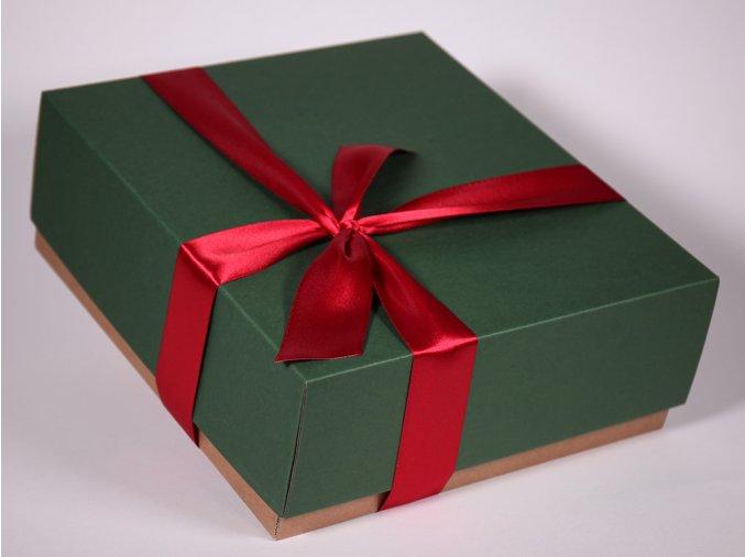 Zelená červená dárková krabice designová papírová pevná se stuhou minimel.cz