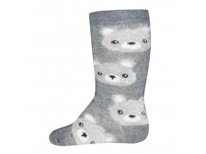 Dětské termo ponožky podkolenky Chlupatý medvídek šedé kluk
