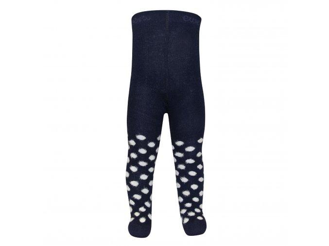 Dětské punčocháče tmavě modré až černé barvy s roztomile chlupatými puntíky (bouclé)