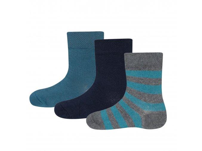 401174 001 Chlapecké ponožky tmavé Trio (3 páry) modrá tyrkys šedá