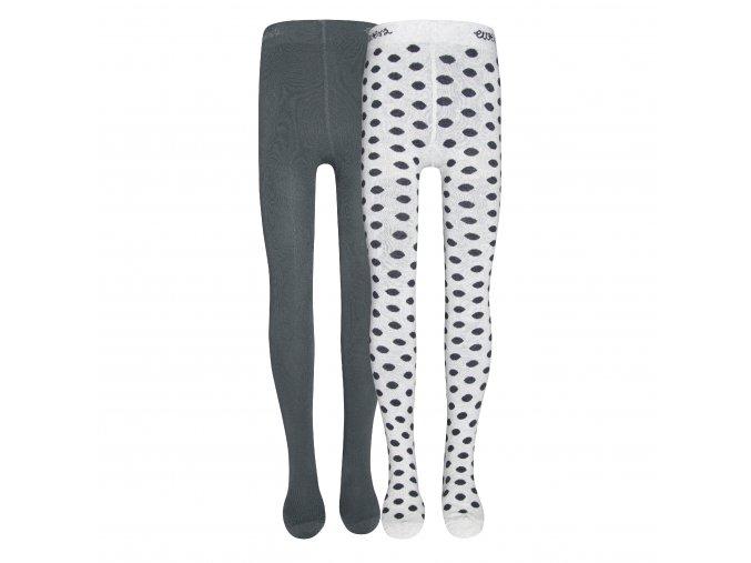 Dětské punčocháče Puntík (2 páry) šedé bílé černé puntíky