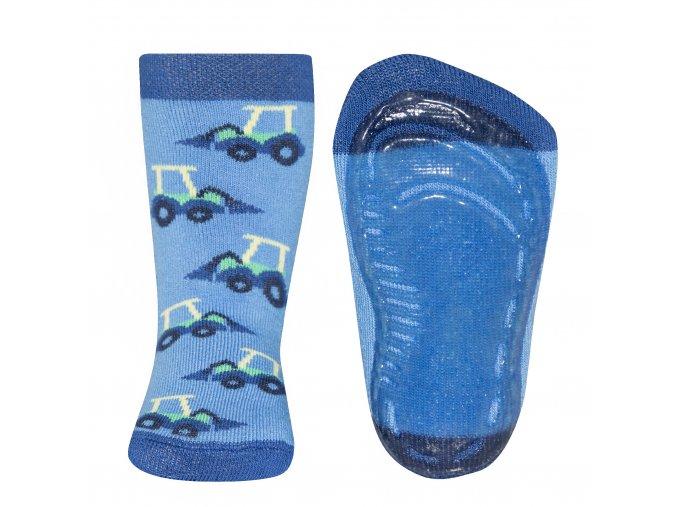 Chlapecké modré termo ponožky Bagr s ABS protiskluzem