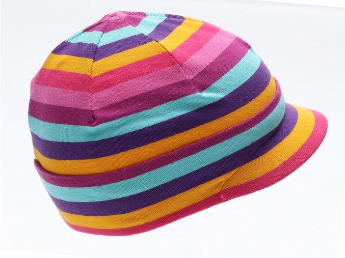Dětská celoroční bavlněná čepice s kšiltem pruhovaná barevná růžová Maximo K 14282