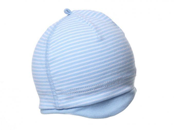 kojenecká čepička modrobílá pro novorozence chlapečka