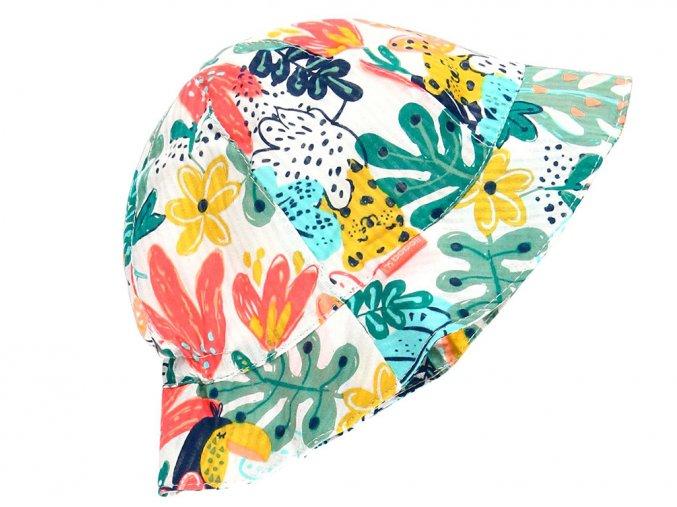Dětský letní klobouček Květy s listy barevný klobou holka Boboli