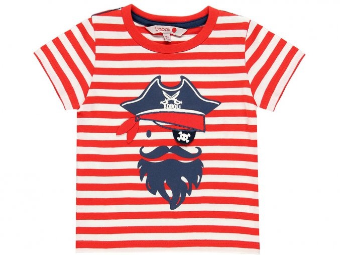 Chlapecké triko Pirát červenobíle pruhované krátký rukáv plastický potisk s pirátem kluk Boboli 3090919323 a
