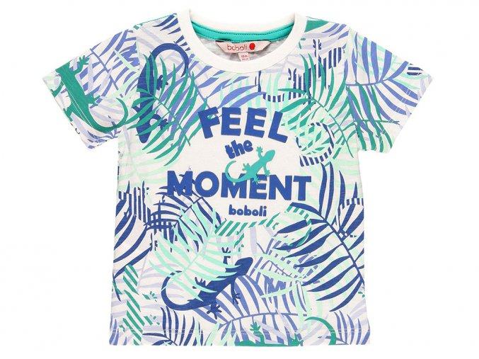Dětské tričko Jungle ještěrka hladící potisk bílé zelené a modré Boboli3490409317 a