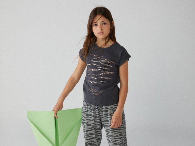 Holčičí triko tmavé antracit