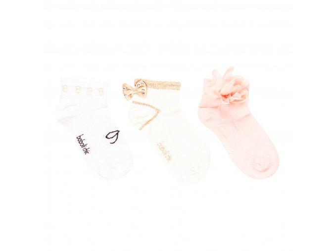 Holčičí ponožky světlé růžová a bílá holka Boboli