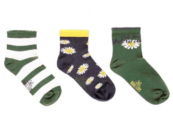 Holčičí ponožky zelené antracitové bílé mix