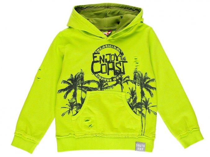 Svítivě zelená mikina pro holku i kluka s kapucí klokánkem Boboli Surfaři 5291854498 a