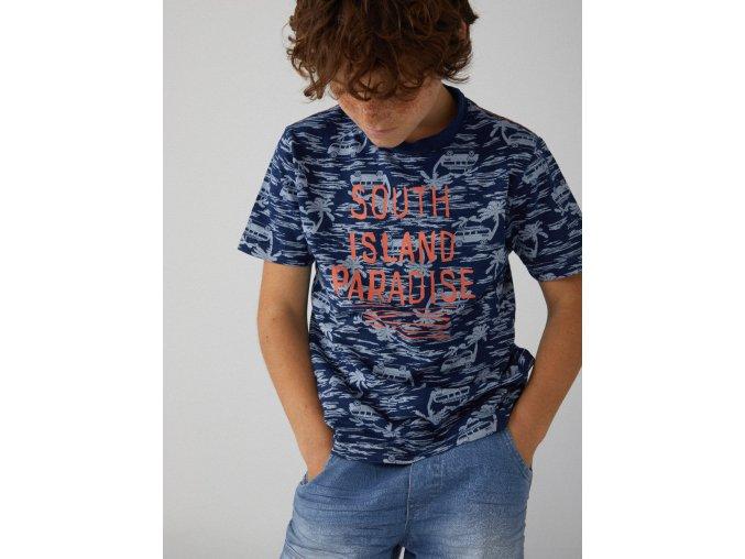 Tmavě modré tričko kluk krátký rukáv surf 100% bavlna boboli 5190499308 model svítivý nápis