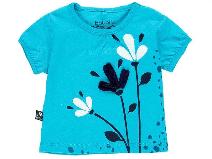 1190012455 a Kojenecké tričko modré Kytičky