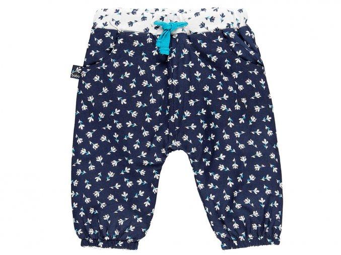 Kalhoty pro kojence modré s kytičkama