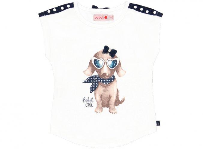 Holčičí tričko bíle se psem