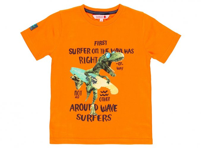 Chlapecké tričko Surf Oranžové krátký rukáv dinosaur s prknem cool Boboli 8391895056 a