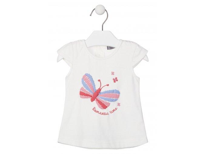 018 1003AL dívčí bílé tričko s krátkám rukávem Motýlek růžová 100% bavlna Losan